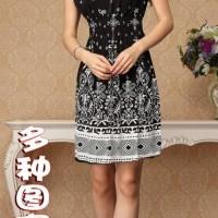叙亚特价波西米亚复古连衣裙A1042双肩松紧高腰大码显瘦背心裙
