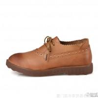 【艾走】2014品牌新款**英伦系带牛津休闲平底平跟复古女鞋