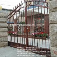 铸铁双开庭院门价格 欧式花纹别墅小区门报价 锌钢铁艺大门供应商